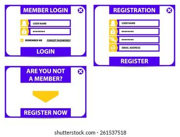 Login, Register - vector