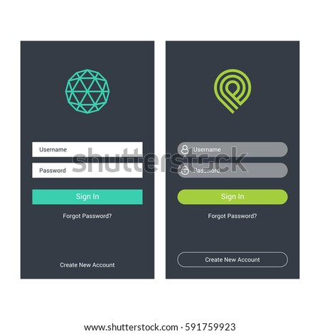 login screen sign form template mobile stock vector royalty free