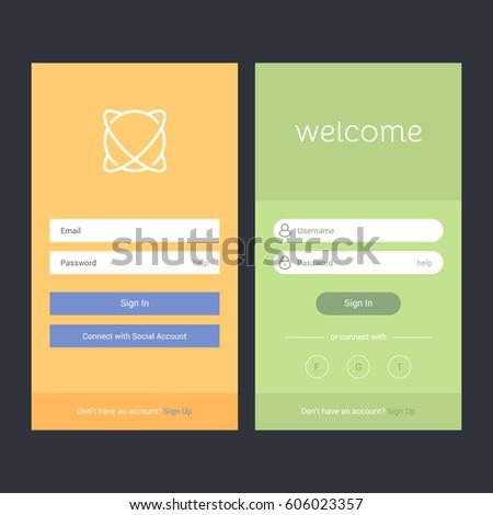 login screen sign form template mobile のベクター画像素材