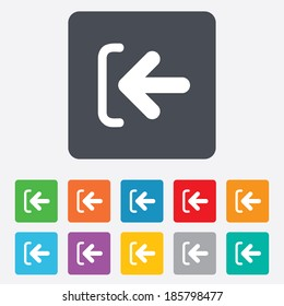 Login sign icon. Sign in symbol. Arrow. Rounded squares 11 buttons. Vector