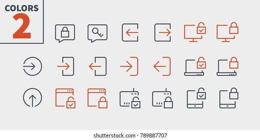 Login UI Pixel Perfect Well-crafted Vector Thin Line Icons 48x48 Ready for 24x24 Grid for Web Graphics and Apps with Editable Stroke. Simple Minimal Pictogram