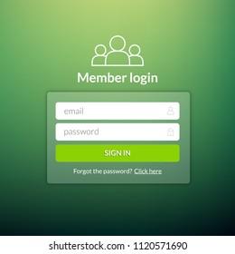 Login user interface. Sign in web element template window. Business website modern ui.