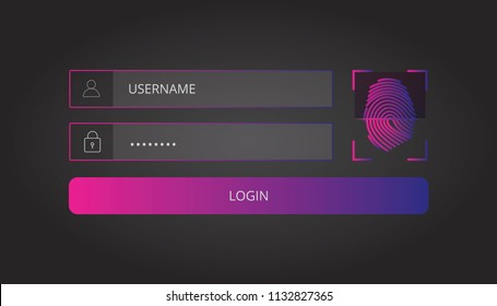 Login user interface. Sign in web element template window with finger-print Scanning Identification System. For Website, Mobile, Computer, Application etc. Vector illustration. login template.