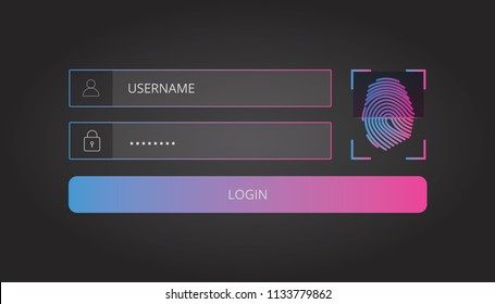 Login user interface. Sign in web element template window with finger-print Scanning Identification System.   login template. Vector illustration
