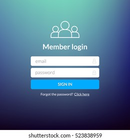 Login user interface. Sign in web element template window. Business website modern ui.