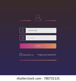 Login user interface. Sign in web element template window. For Website, Mobile, Computer, Application etc. Vector illustration