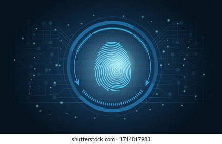 Login using fingerprint identification with a print inside a circle on an electronic or digital screen in a security concept, vector illustration
