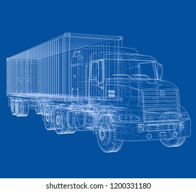 Logistic by Container truck. Vector rendering of 3d. Wire-frame style. The layers of visible and invisible lines are separated