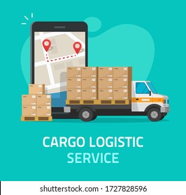 Logistic cargo courier or freight delivery service transportation via mobile phone or smartphone vector, flat shipping truck automobile with warehouse parcel packages and cellphone city map tracking