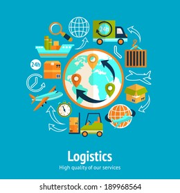 Logistic chain concept with globe and shipping freight service supply delivery icons vector illustration
