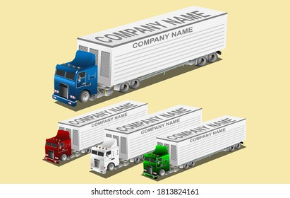 Logistic company illustration, trucks isometrical style drives on the road vector