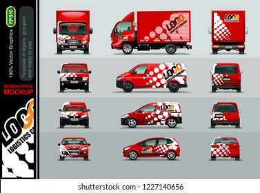 Logistic Company. Layout offers for your business. Mockup in layers and ready to use.