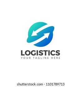 Logistic Company Logo Vector With Arrow