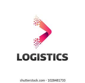 Logistic company vector logo. Arrow icon. Delivery icon. Arrow icon. Arrow vector. Delivery service logo. Web, Digital, Speed, Marketing, Network icon. Pixel logo.  Pixel art. Pixel icons.