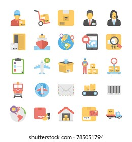 Logistic Delivery Flat Vector Icons Set