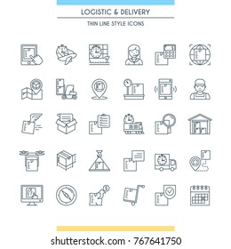 Logistic and delivery icon set. Modern thin line icons. Vector illustration