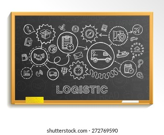 Logistic hand draw integrated icons set on school board. Vector sketch infographic illustration. Connected doodle pictogram: distribution, shipping, transport, services, container interactive concepts