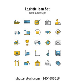 logistic icon set. logistic icons vector. filled outline icon style design