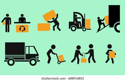 Logistic icon set. Stick figure of delivery black. Simple pictogram with flat design