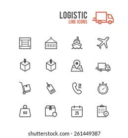 Logistic icon set. Vector illustration.