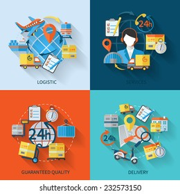 Logistic icons flat set with services guaranteed quality delivery isolated vector illustration