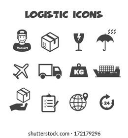 logistic icons, mono vector symbols
