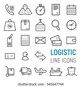 Logistic icons set. Vector flat line illustrations