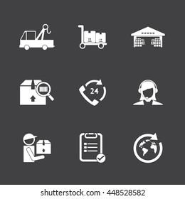 Logistic icons set. White icons on black background