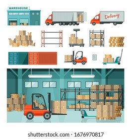 Logistic industrial warehouse in warehousing transport vector isolated on white illustration. Distribution transportation delivery in different locations. Delivering shipping transport concept