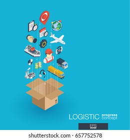 Logistic integrated 3d web icons. Digital network isometric progress concept. Connected graphic design line growth system. Abstract background for shipping delivery and distribution. Vector Infograph
