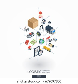Logistic integrated 3d web icons. Digital network isometric interact concept. Connected graphic design dot and line system. Abstract background for shipping delivery and distribution. Vector on white.