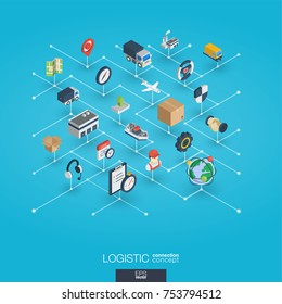 Logistic integrated 3d web icons. Digital network isometric interact concept. Connected graphic design dot and line system. Abstract background for warehouse storage, shipping delivery, distribution.