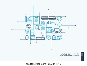 Logistic integrated thin line symbols. Motion arrows vector concept, with connected flat design icons. Illustration for delivery, service, shipping, distribution, transport, communicate concepts