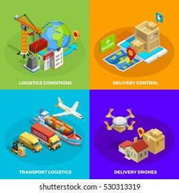 Logistic isometric concept with different stages and means of delivery and transportation processes isolated vector illustration