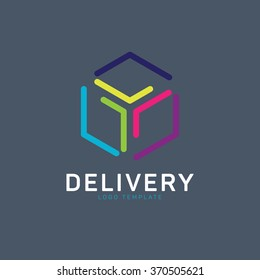Logistic logo. Delivery logo. Package logo. Box logo. Courier logo