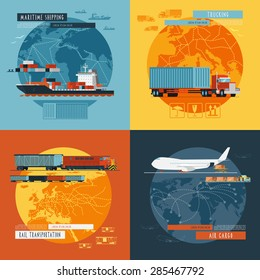 Logistic maritime shipping and air cargo transportation worldwide 4 flat icons composition banner abstract isolated vector illustration