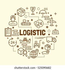 logistic minimal thin line icons set, vector illustration design elements
