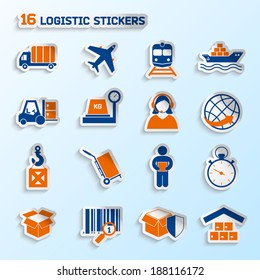 Logistic package transportation global urgent delivery stickers set vector illustration