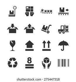 Logistic Packing vector illustration icon set. Included the icons as box, delivery, fragile, unpack, package, parcel and more.