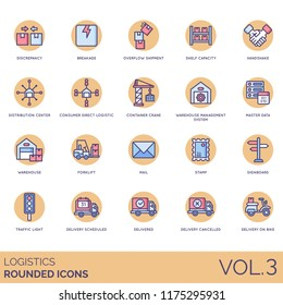 Logistic rounded flat icon set. Discrepancy, breakage, overflow shipment, shelf capacity, distribution center, consumer, container crane, warehouse, master data, forklift, mail, stamp, delivered.