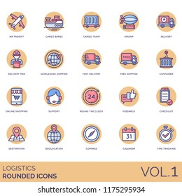 Logistic rounded vector icons. Air freight, cargo barge, train, airship, worldwide, fast delivery, free shipping, container, support, feedback, checklist, destination, geolocation, time tracking.