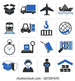 Logistic service icons and shipping elements set of vector illustration