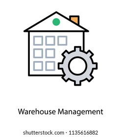Logistic service providers warehouse management icon has been denoted by a building attached with gears