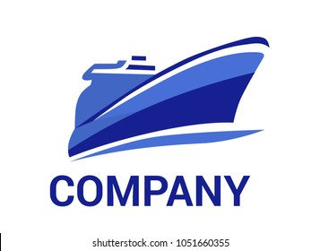logistic ship for shipping import export trade sail over ocean flat design style logo illustration with blue color