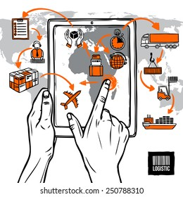 Logistic sketch concept with hand holding digital tablet shipping icons and world map vector illustration
