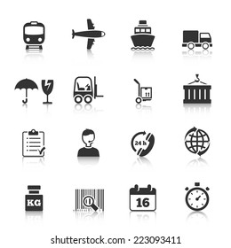 Logistic symbols of packing loading worldwide cargo transportation delivery service black icons set abstract isolated vector illustration