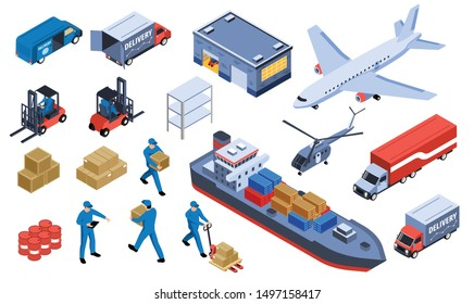 Logistic transportation isometric set of delivery trucks ships and airplanes isolated icons vector illustration