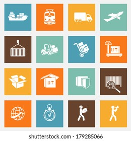 Logistic transportation services pictograms collection for web design isolated vector illustration