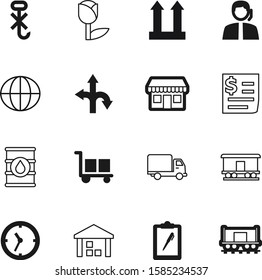 logistic vector icon set such as: clipboard, supermarket, finance, center, two, set, sphere, gasoline, truck, decoration, second, top, telephone, arrow, summer, oil, fast, glass, headset, window