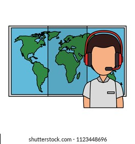 logistic worker with headset and map